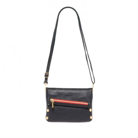 Hammitt - VIP Small Clutch, Black & Gold with Red Zipper