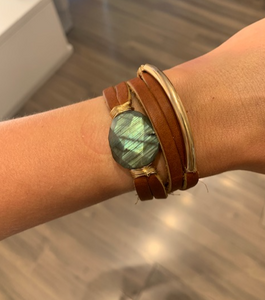 Tan Leather Wrap Bracelet