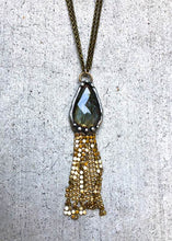 Load image into Gallery viewer, Labradorite With Gold Brass Mesh Fringe Necklace
