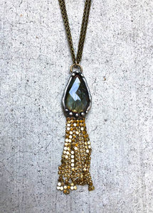 Labradorite With Gold Brass Mesh Fringe Necklace