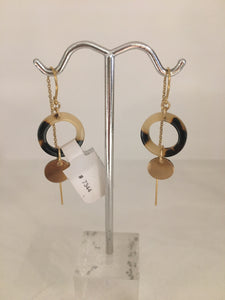 Tortoise Shell/Disc Threader Earrings
