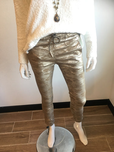 Gold Camo Flog Pants. Bevy Jeans