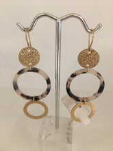 Load image into Gallery viewer, Tortoise Open Circle and Gold Fill Disc/Circle- Earrings