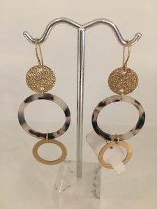 Tortoise Open Circle and Gold Fill Disc/Circle- Earrings