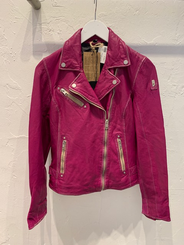Sofia Leather Jacket in Magenta