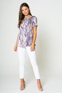 Lav Brown - Blue/Taupe Snake Print Short Sleeve Top