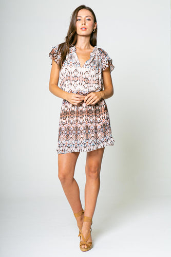 Lav Brown - BLUE/TAUPE ETHNIC PRINTED SHORT SLEEVE MINI DRESS