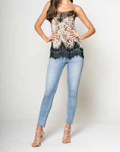 Lace Trim Cami in Leopard
