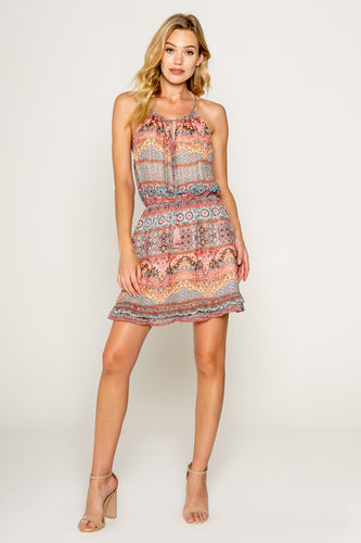 Lav Brown - Ethnic Floral Printed Mini Dress