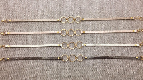 Tripple Gold Filled Bubble Circles & Metallic Leather Bracelet