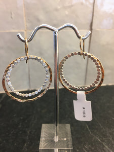 Medium Hammered Circle & Bubble Circle Inside Earrings