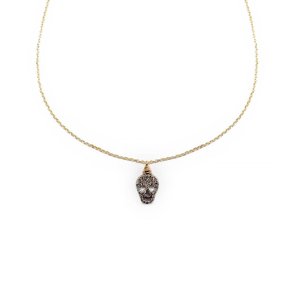 Pave Diamond Skull Delicate Necklace