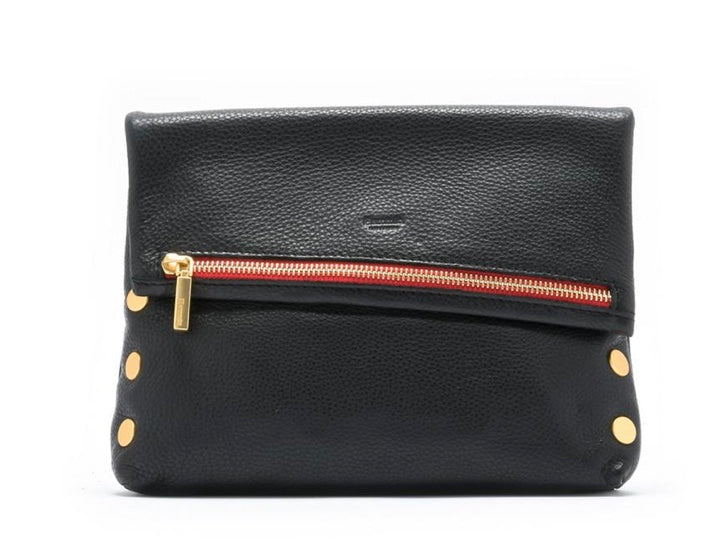 Hammitt VIP - Medium, Black Leather, Gold Rivets, Red Zipper