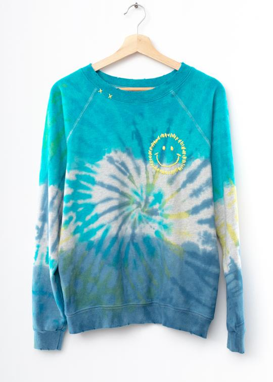 I Stole My Boyfriend's Shirt- Prismatic Smiley Face Sweatshirt in Blue