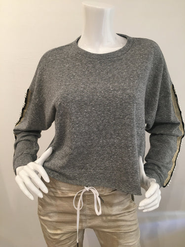 Lanston Crop Embellished Sweatshirt - Heather Grey/Pearl