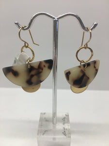 Tortoise Shell Fan and Disc Earrings