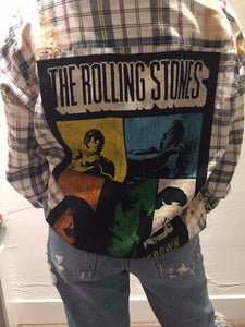 Upcycle Envy - Vintage Flannel - Rolling Stones Shacket