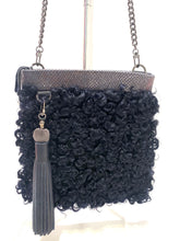 Load image into Gallery viewer, Evoke - Amber Bag Navy/Mongolian curls/ tassel
