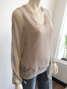 Chiffon V Neck Top w/ Tie Front