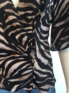 Zebra Elbow Sleeve Wrap Top