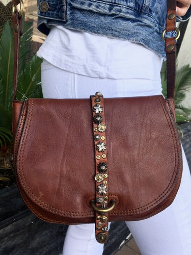 Campomaggi - Large Bandolier w/ Studded Strap in Cognac