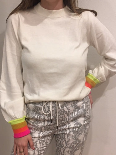 Brodie Whisper - White Bijou  Rainbow Cuff Sleeve Sweater