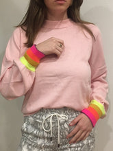 Load image into Gallery viewer, Brodie Whisper - Rose Petal Rainbow Cuff Sleeve Sweater