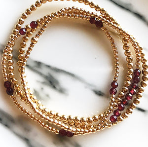 Gold Ball Stretchy Bracelet - Garnet
