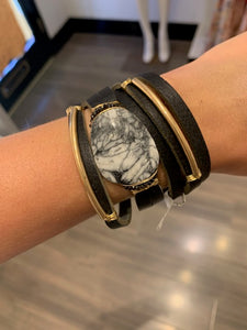 Leather Wrap Bracelet With Agate