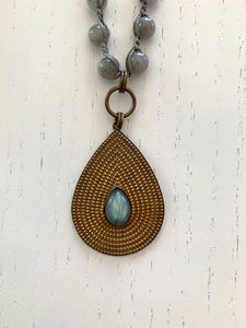 Tibetan Charm Long Necklace With Labradorite