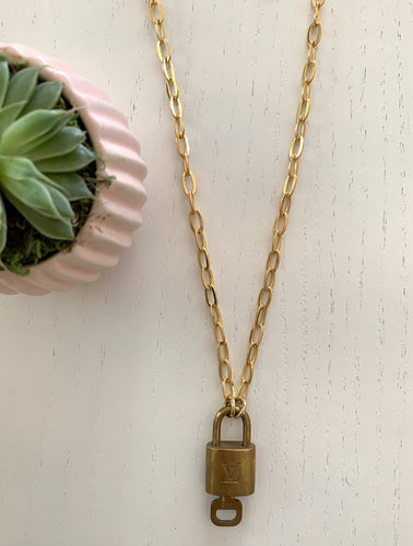 Vintage LV Lock Chain Necklace