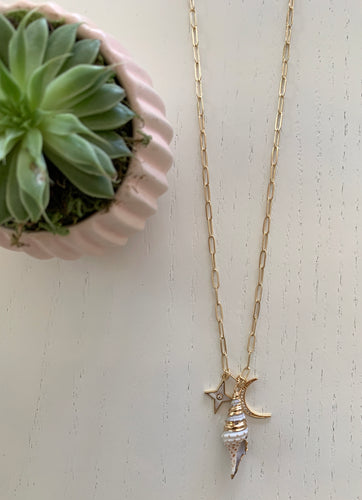 Long Link Necklace With Star, Shell & Moon Charm
