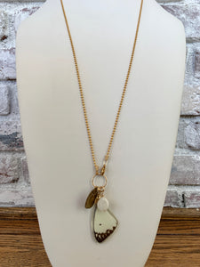 Long Necklace With a Butterfly Wing Charm