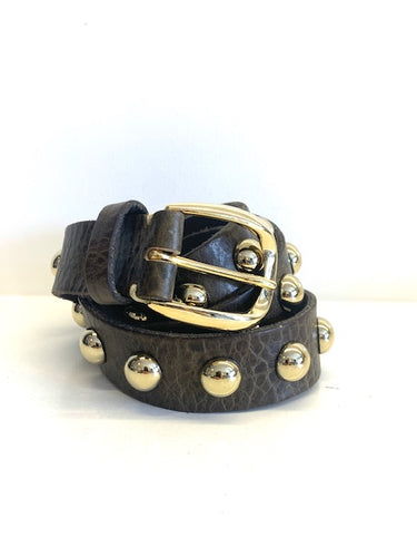 Narrow Big Stud B. Belt Olive Green