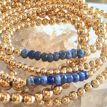 Load image into Gallery viewer, Gold Ball Stretchy Bracelet - Sodalite