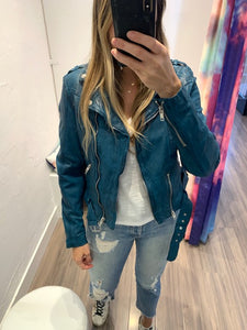 Wild Leather Jacket in Teal