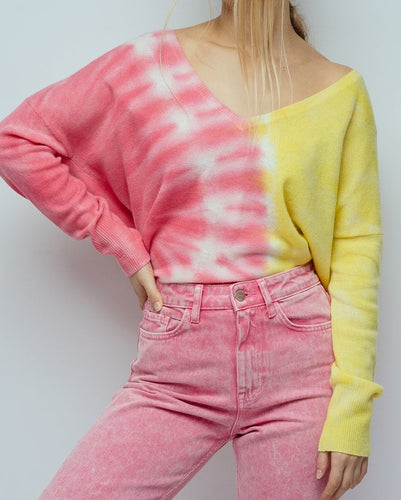 CRUSH - Malibu Tie Dye Oversized V Neck Sweater