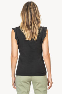 Ruffle Sleeve V-Neck- Black