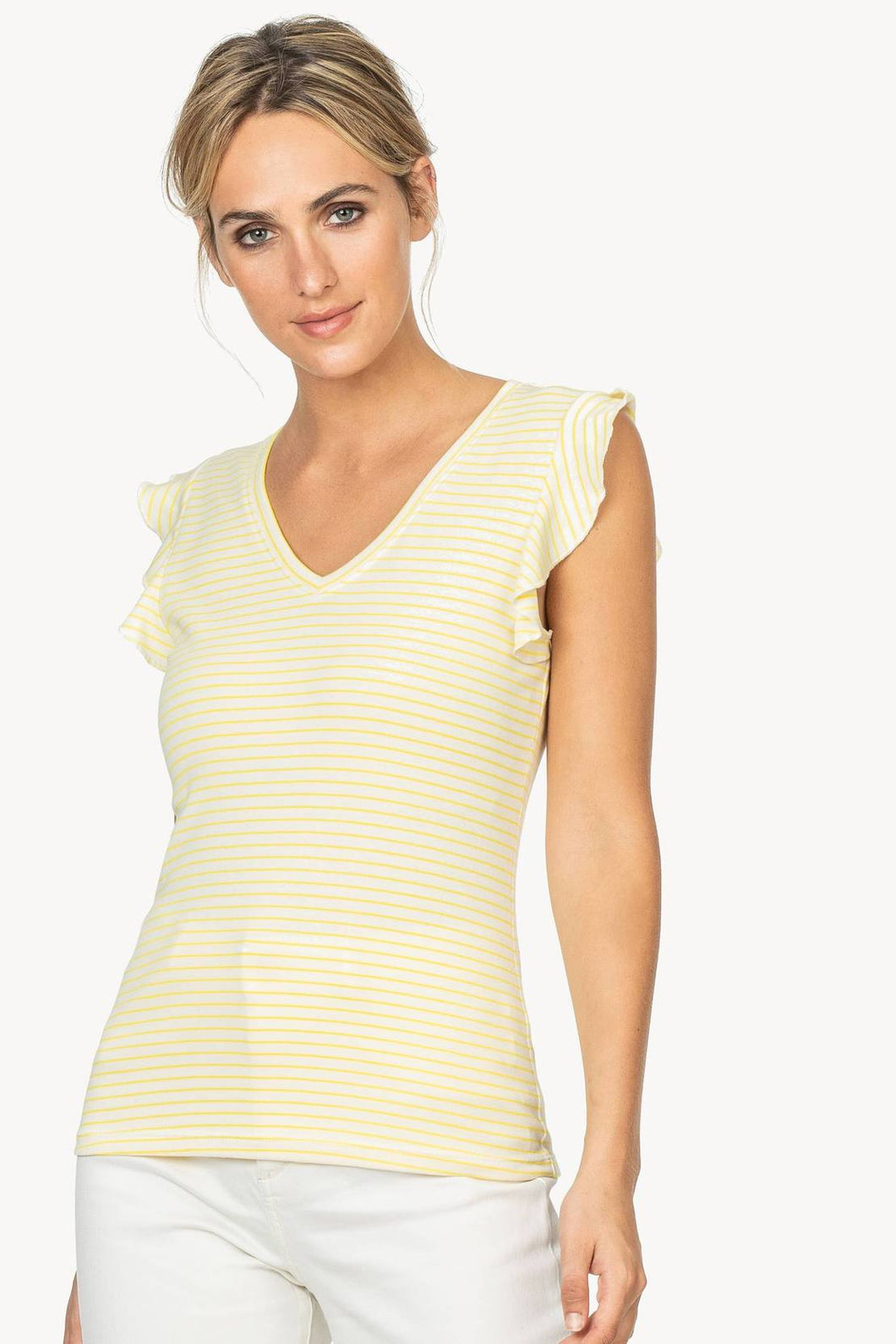 Ruffle Sleeve V-Neck - Lemon Stripe
