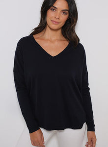 Minnie Rose - Fine Cotton/Cashmere Relaxed Fit V-Neck