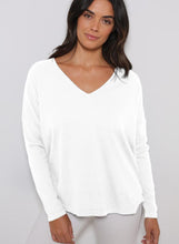 Load image into Gallery viewer, Minnie Rose - Fine Cotton/Cashmere Relaxed Fit V-Neck