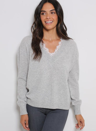 Minnie Rose - Lace Trim Cashmere V-Neck