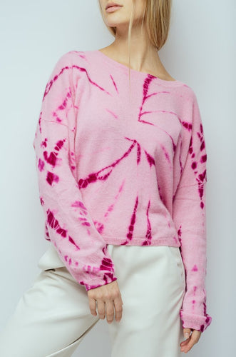 CRUSH - Tarifa Tie Dye Cropped Crew Sweater in Candy Pink