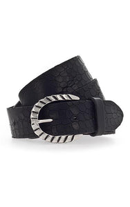 Embossed Leather Belt - Navy Silver