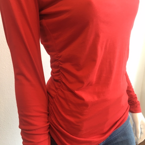 Velvet- Vella L/S Ruched Cotton Top