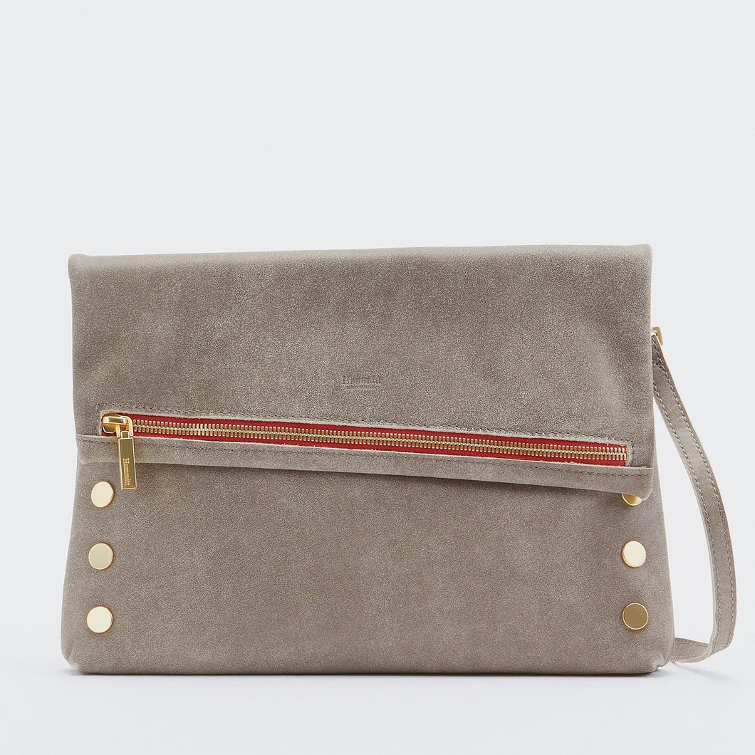 Hammitt Large VIP - Pewter/Brushed Gold w/ Red Zip