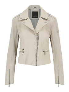 Hera Perforated Leather Jacket - Off White