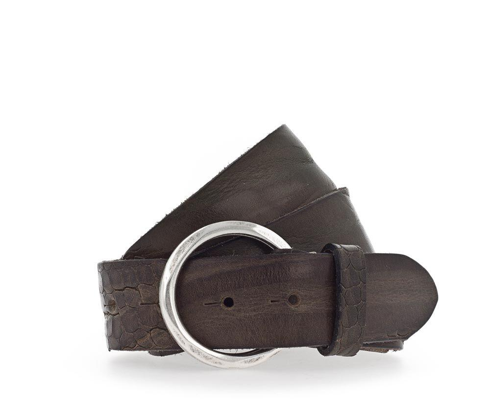 B BELT - SUE CROC LEATHER BELT 35mm - OLIVE