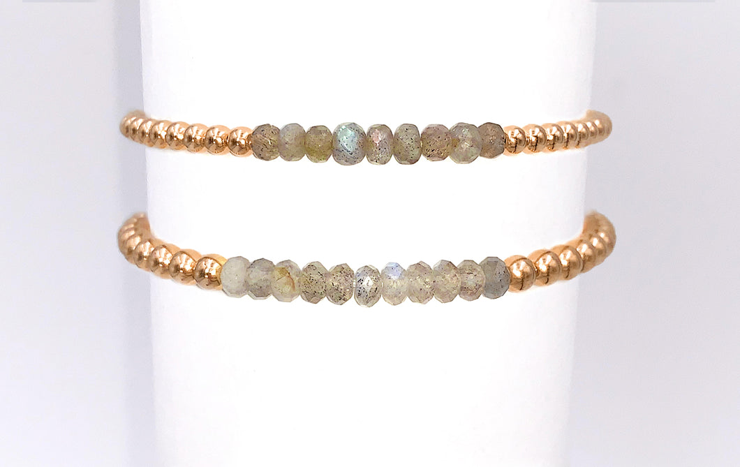 Gold Ball Stretchy Bracelet - Labradorite