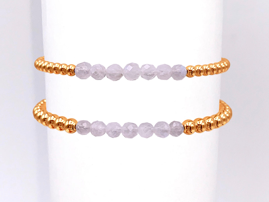 Gold Ball Stretchy Bracelet - Moonstone Bracelets